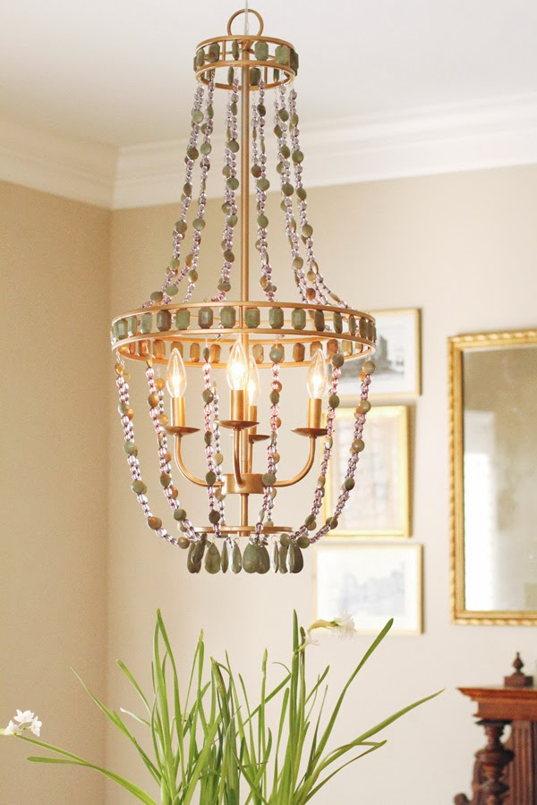 Diy beaded chandelier style your senses to me the gold made a huge difference making it look much more expensive than it was and it even bringing out the bead colors what do you guys think mozeypictures Gallery