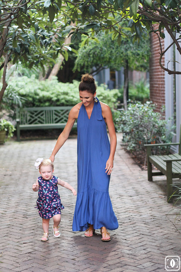 blue maxi dress, maxi halter, dinner outfit