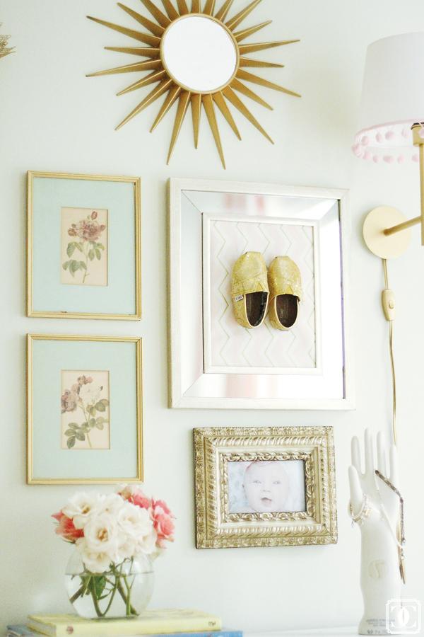 little girl framed shoes, little girl nursery, vintage nursery ,wall decor, nursery design