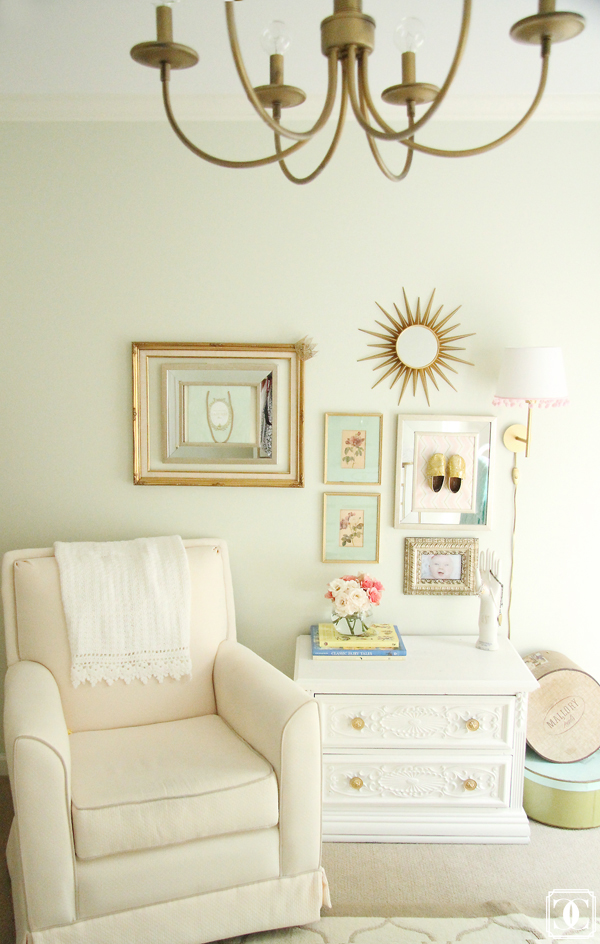 little girl nursery wall art, sunburst mirror, wall collage, little girl nursery wall