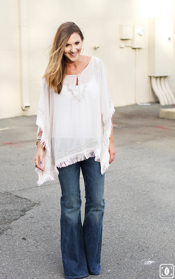 fringe top, fall style, autumn outfits, flared denim