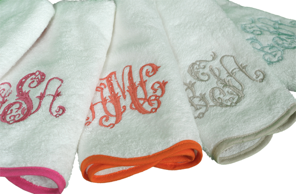 Leotine Linens hand towels, monogram hand towels, powder bath hand towels