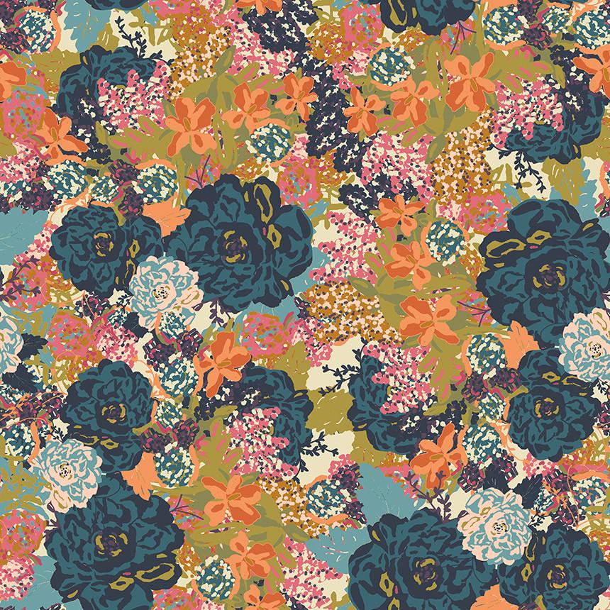 floral wallpaper, floral powder bath, removable wallpaper