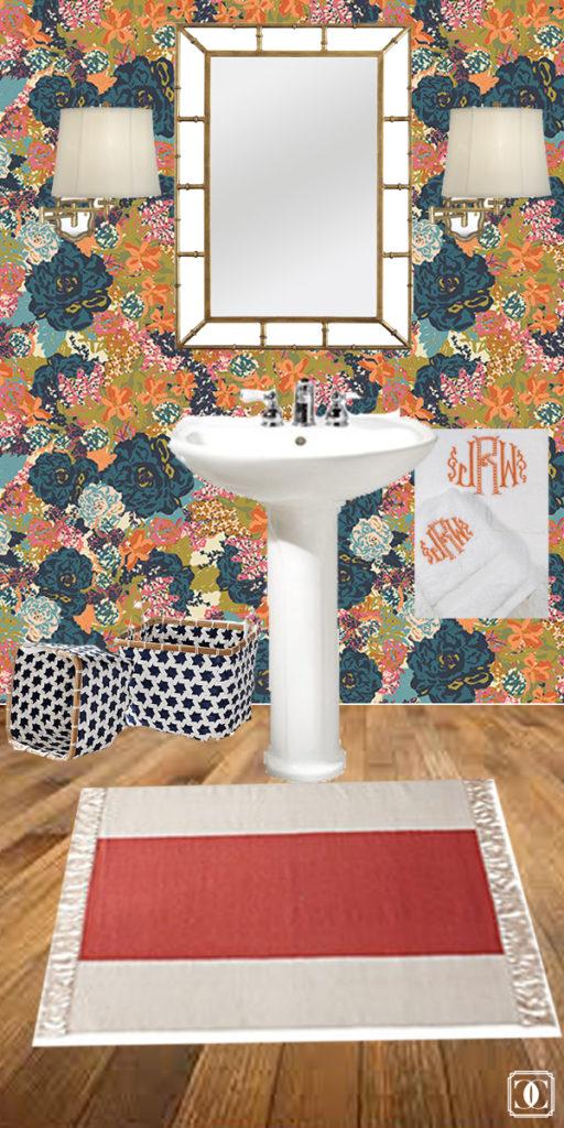 floral wallpaper, half bath makeover, removable wallpaper