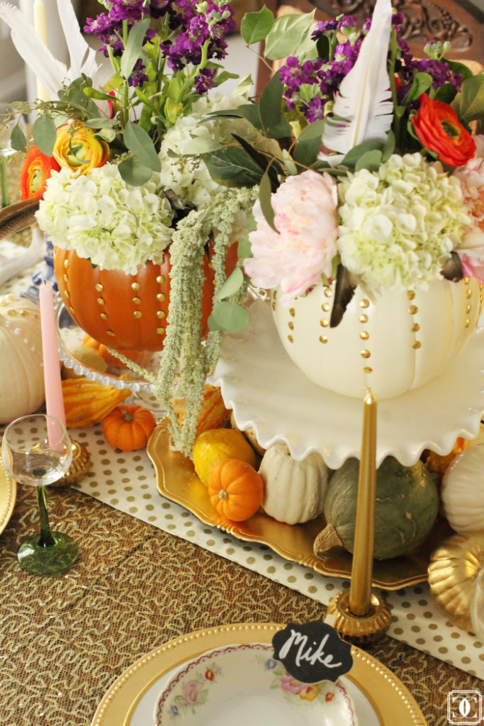 autumn centerpiece, DIY pumpkins, Thanksgiving center pieces