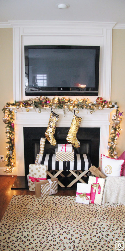 x-benches, holiday mantel, holiday decor, holiday gifts, wrapping paper, holiday bows, sequin stockings