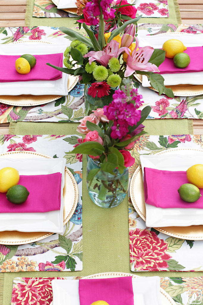 summer table, patio DIY, bright and bold colors
