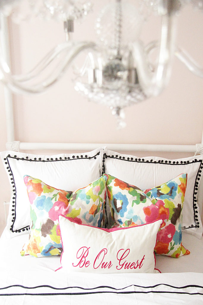 colorful pillows, guest room bedding