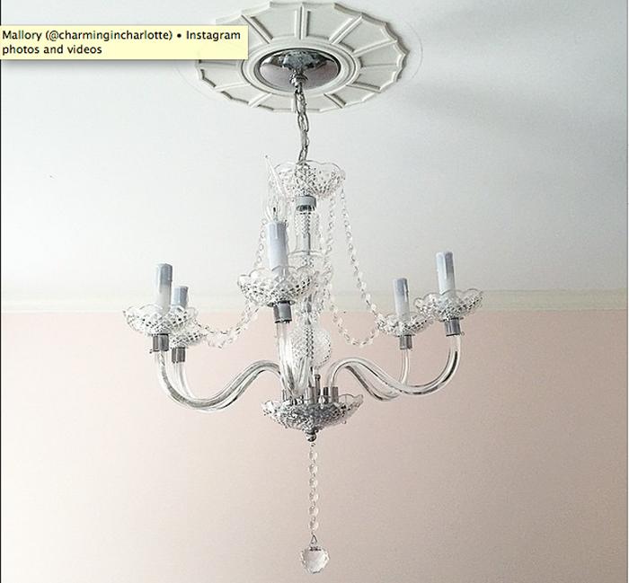 guest room, chandelier