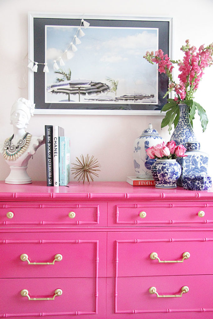 guest room decor, hot pink furniture, DIY dresser, bamboo dresser, blue and white ginger jars