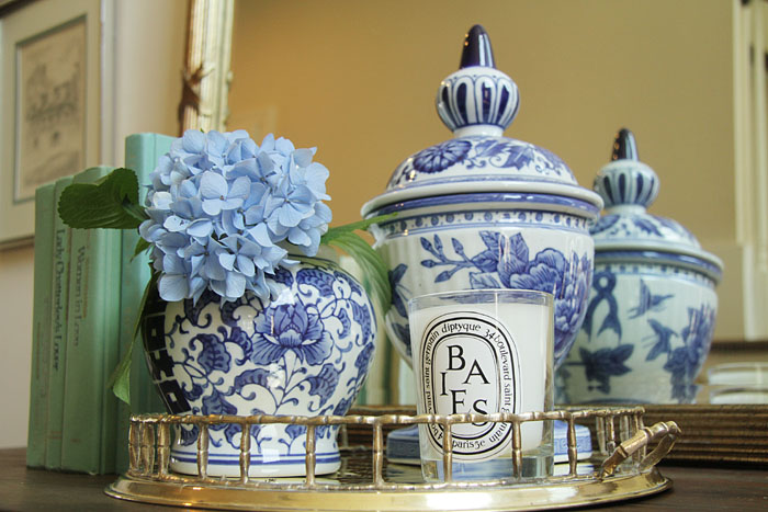 blue and white ginger jars, brass bamboo tray, thrift store upcycle