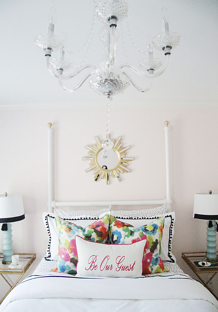 chandelier, sunburst mirror, guest room DIY