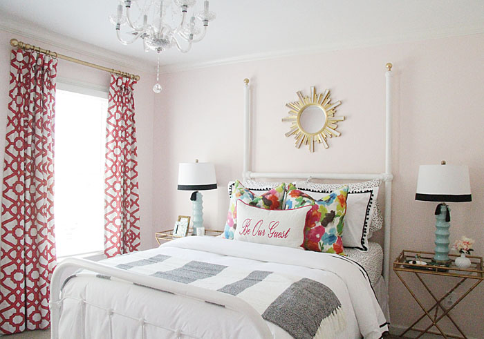 DIY guest room, sunburst mirror, colorful pillows, guest room bedding, x-night stand, guest room lamps, colorful drapes