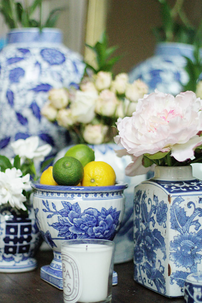 blue and white ginger jars, flower vases
