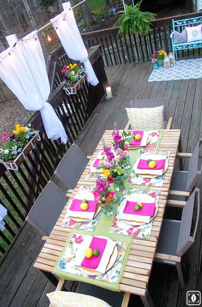 hot pink patio decor, lemon decor, patio DIY, summer patio