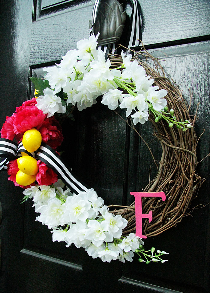 DIY wreath, summer wreath front door wreath, monogram wreath