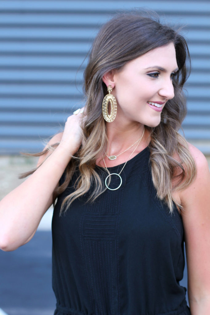 Black Romper, Gold earrings, statement earrings