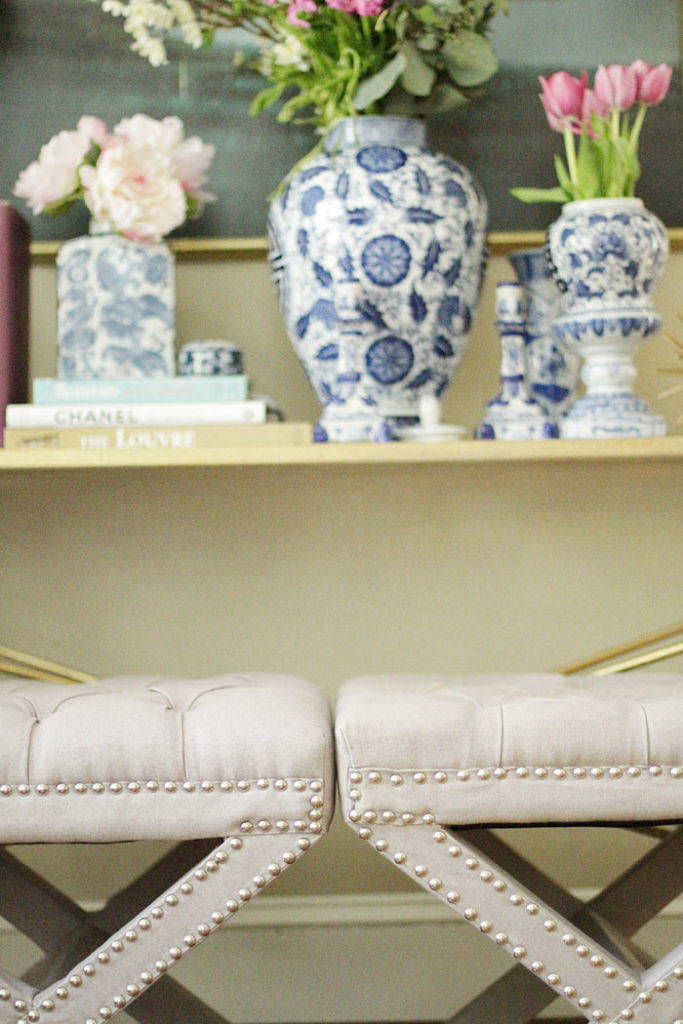 ginger jars, blue and white, x-benches, gold coffee table