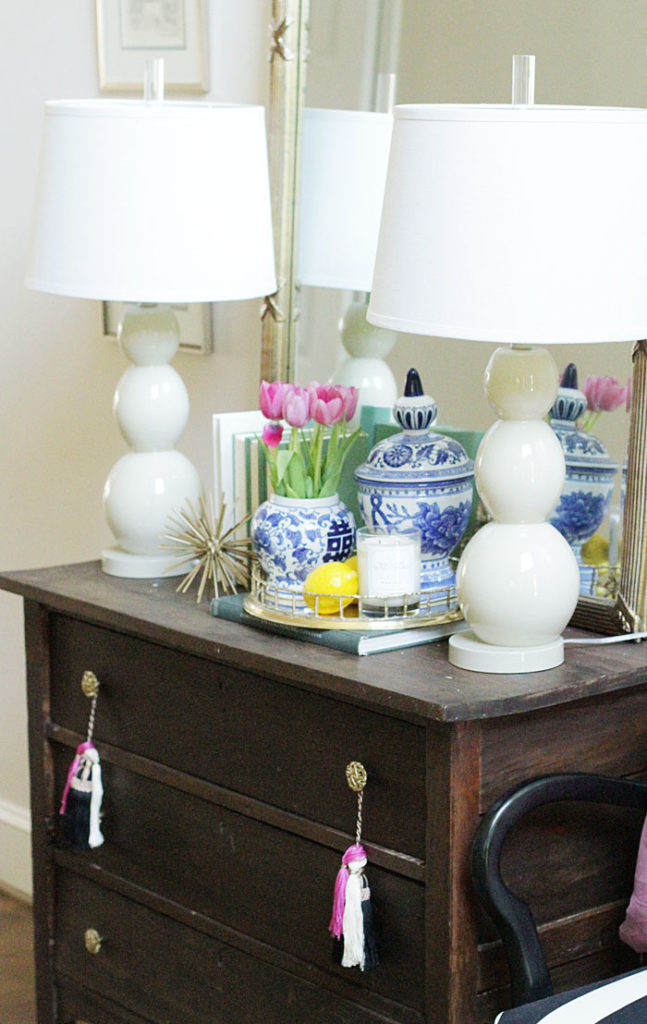 entry way, blue and white ginger jars, brass bamboo tray, white lamps