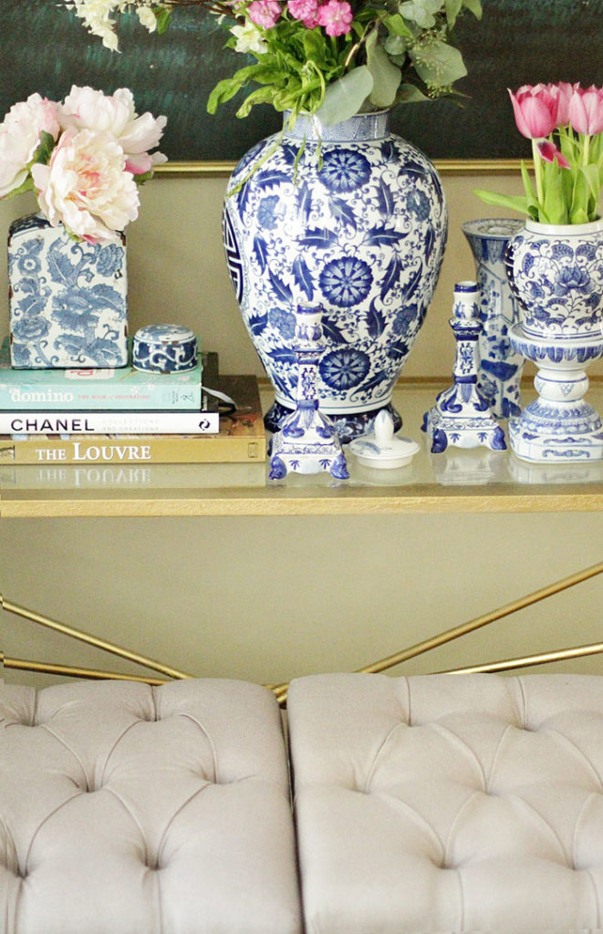 blue and white ginger jars, x-benches, gold coffee table