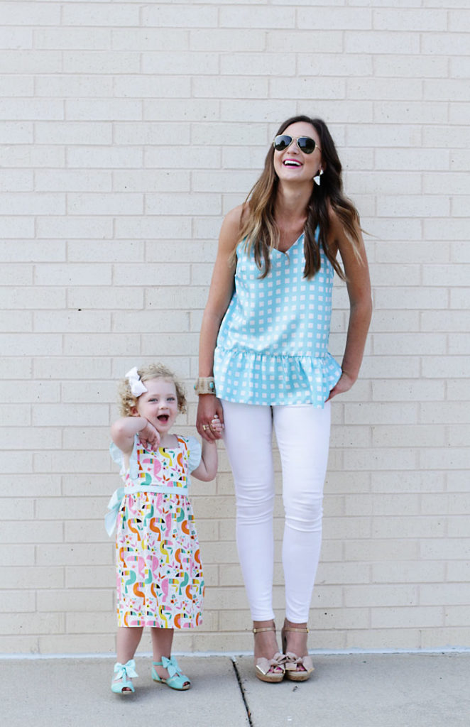 LaRoque, mommy and me, chic mom, plaid shirt, printed dress, white jeans, ray ban
