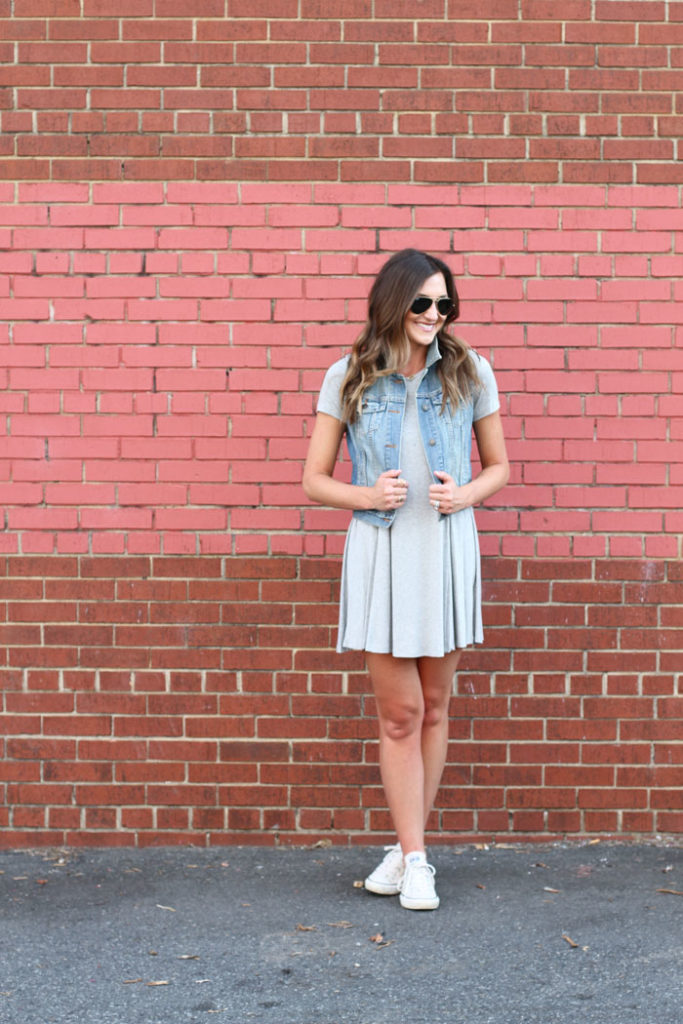 Swing dress, aviators, denim vest, one dress 3 ways, converse