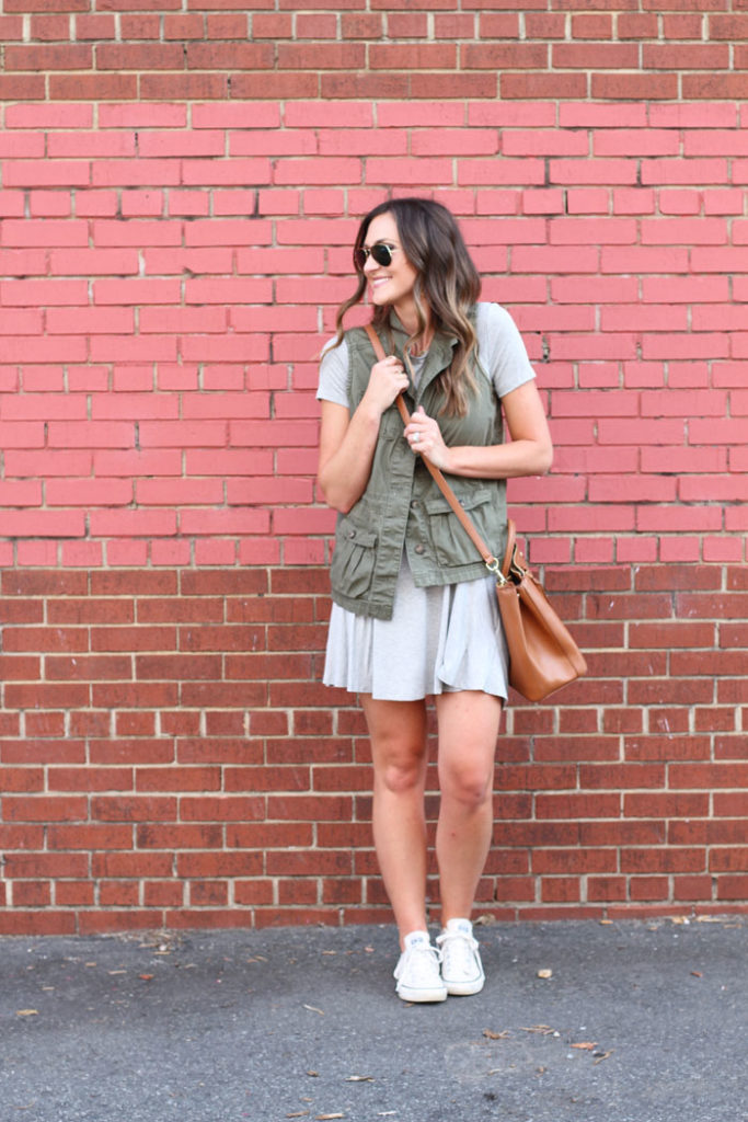 Swing dress, casual dress, military vest, tory burch, nordstrom, affordable