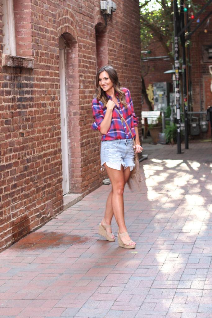 Denim Shorts, Plaid Shirt, Fringe Bag, casual outfit