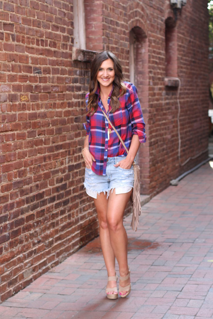 Denim Shorts, Plaid Shirt, Fringe Bag, casual outfit