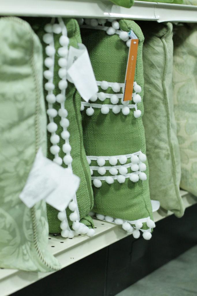 green pillow, pom pom pillow, affordable pillow