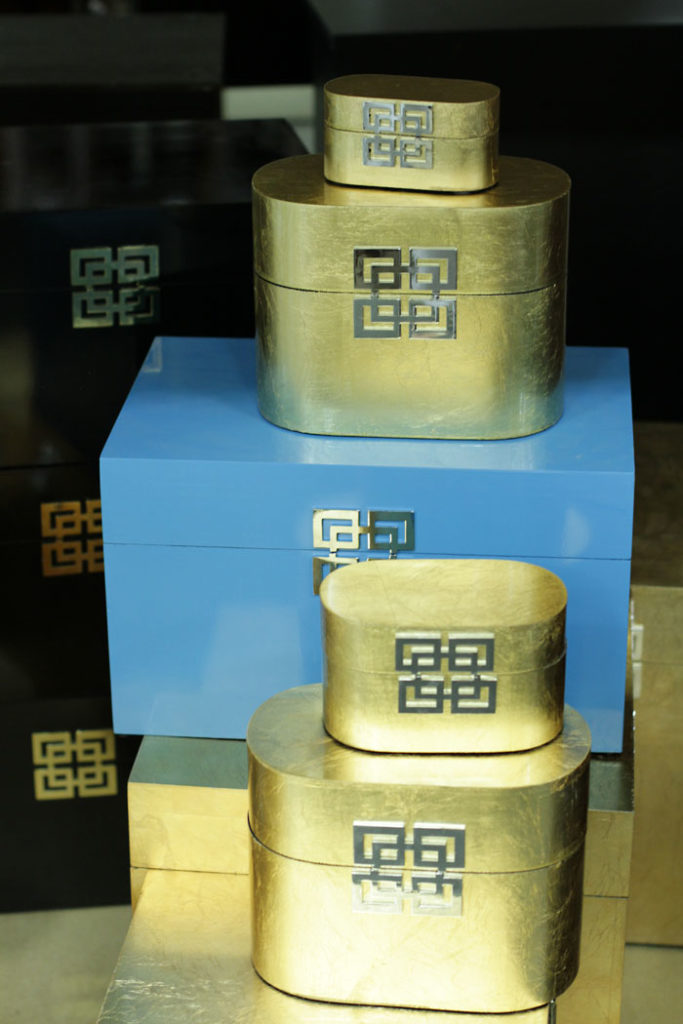 Greek Key boxes, Gold Box, Storage box