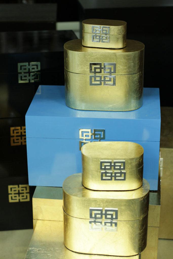 Greek Key boxes, Gold Box, Storage box