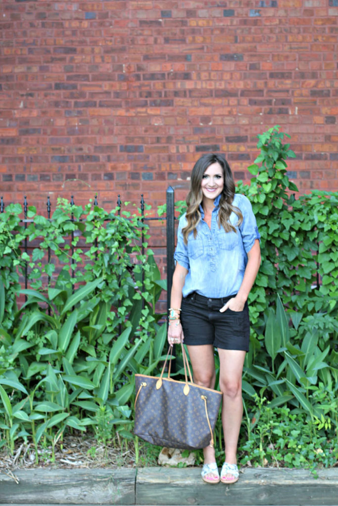 How to wear denim on denim, chambray, distressed denim, louis vuitton neverfull GM