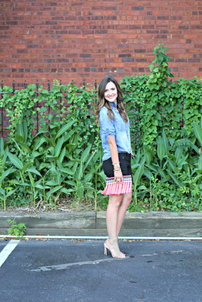 Charmbray top, denim shorts, heels, tassel clutch