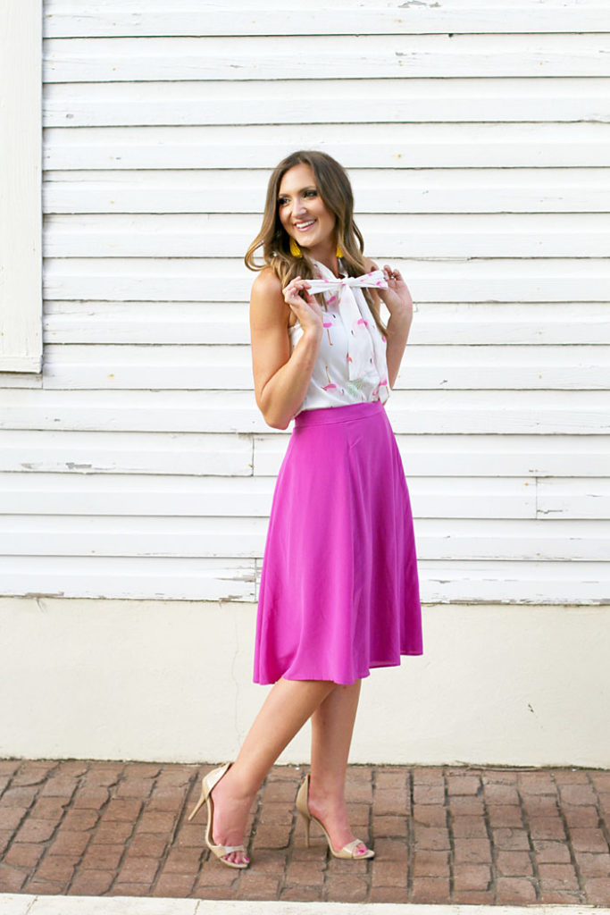 flamingo shirt, midi skirt, tassel earrings