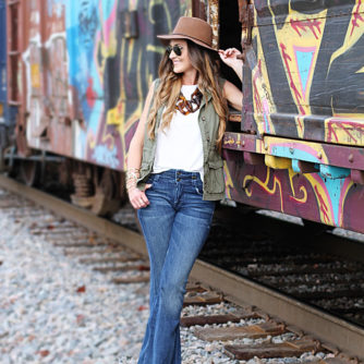 Flare denim, link necklace, floppy hat, how to wear flare denim, utility vest