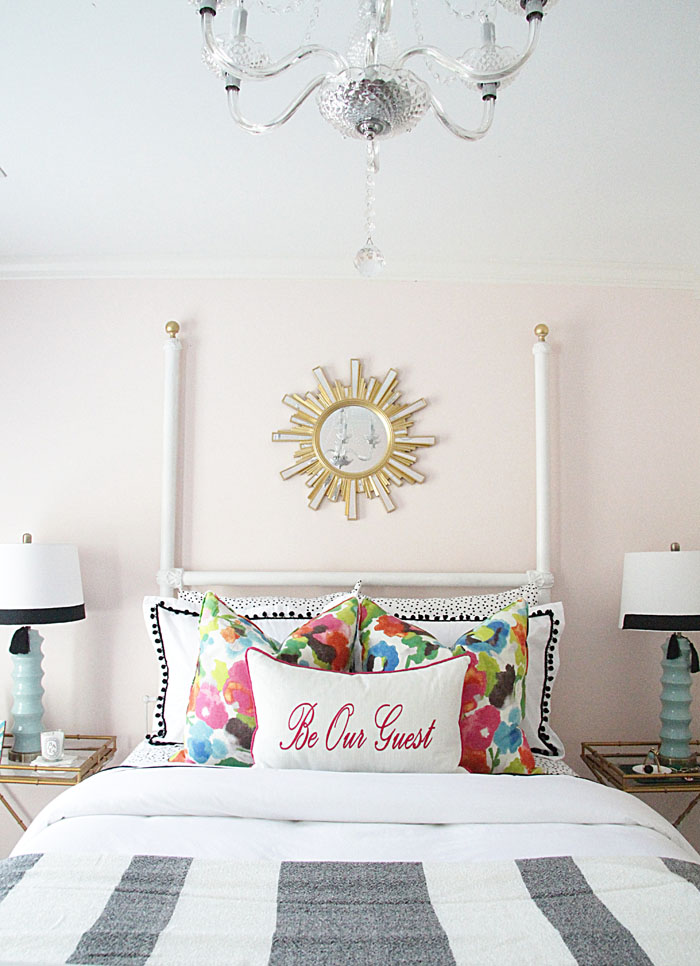 One room challenge, guest bedroom, floral pillow, sunburst mirror