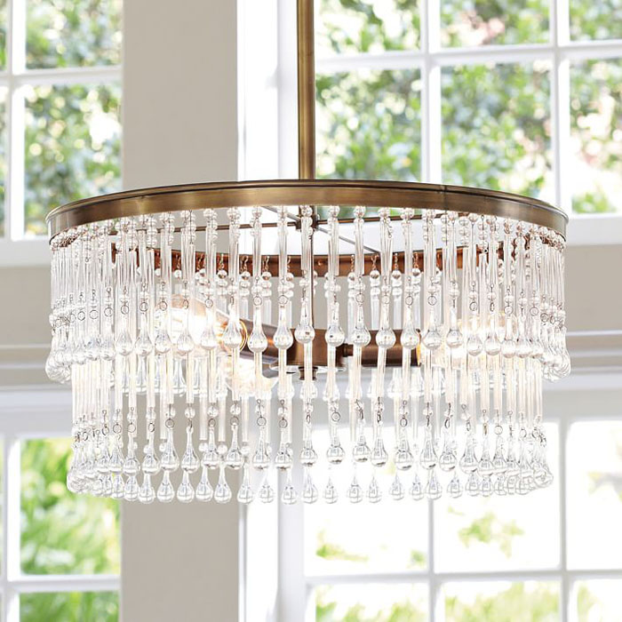 Crystal chandelier, pottery barn light