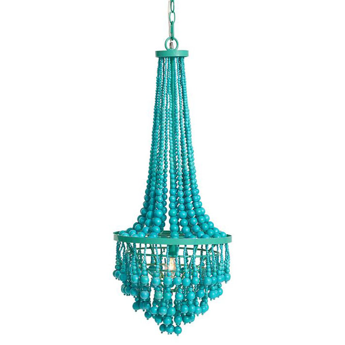 beaded chandelier, turquoise chandelier