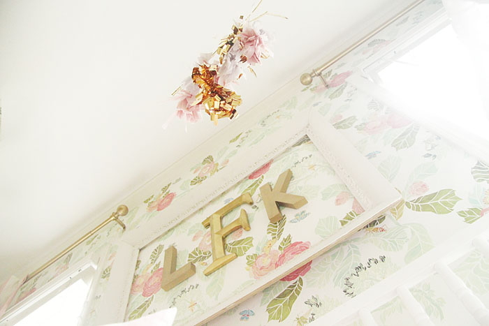 DIY, Mobile, floral wallpaper, girl nursery