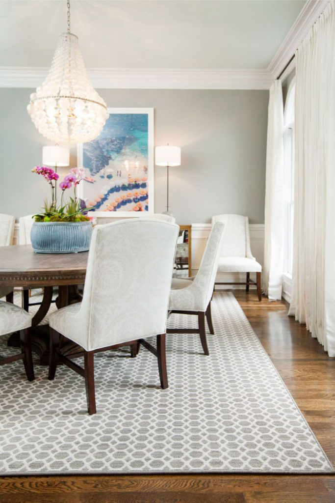 dining room, beach scene, upholstered chairs, orchid, chandelier