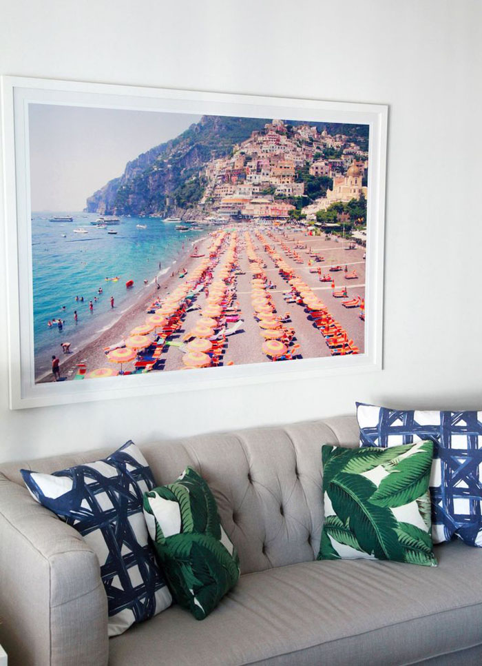 couch, palm print, beach scene, patterned pillow