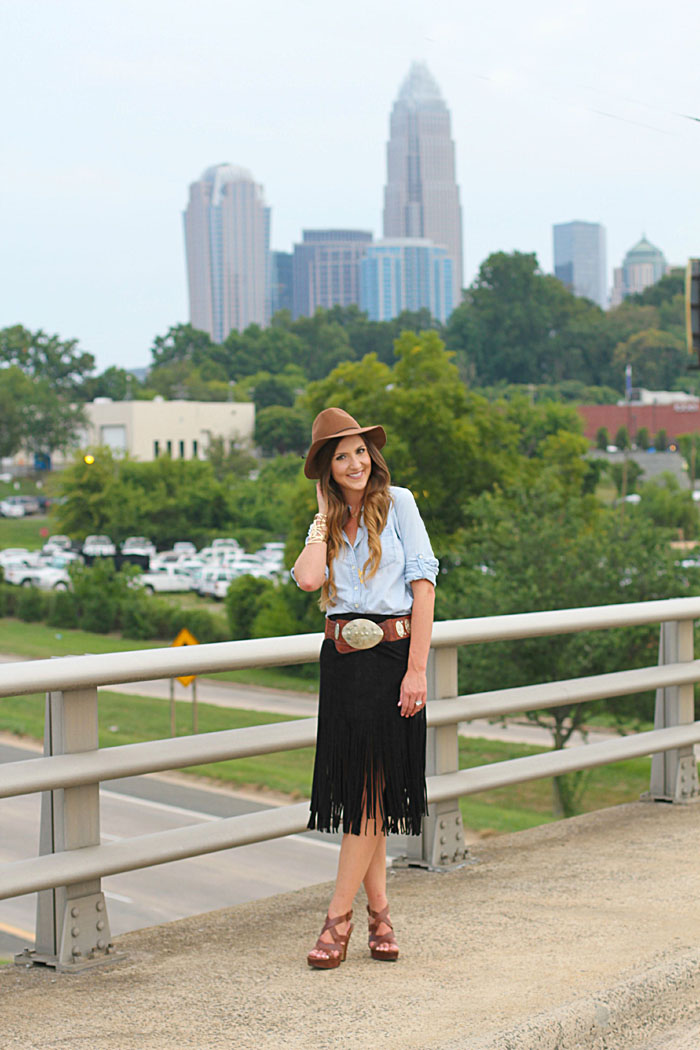 faux suede and Fringe Skirt, Boho, Felt Hat, Chambray, Suede