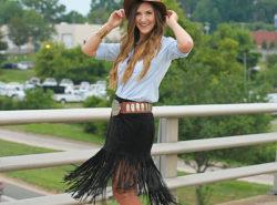Fringe Skirt, Boho, Felt Hat, Chambray, Suede