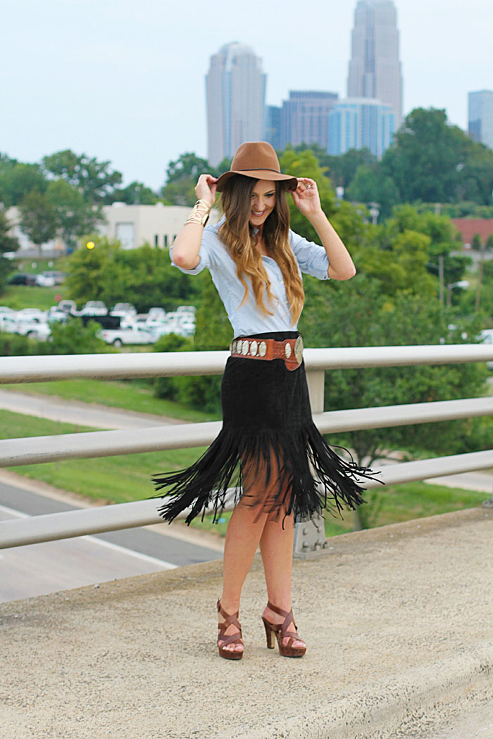 faux suede and faux suede and Fringe Skirt, Boho, Felt Hat, Chambray, Suede