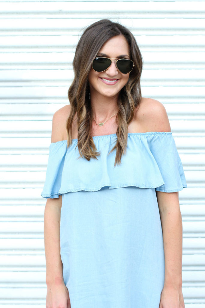 Off the shoulder, chambray dress, burberry shoes, aviators