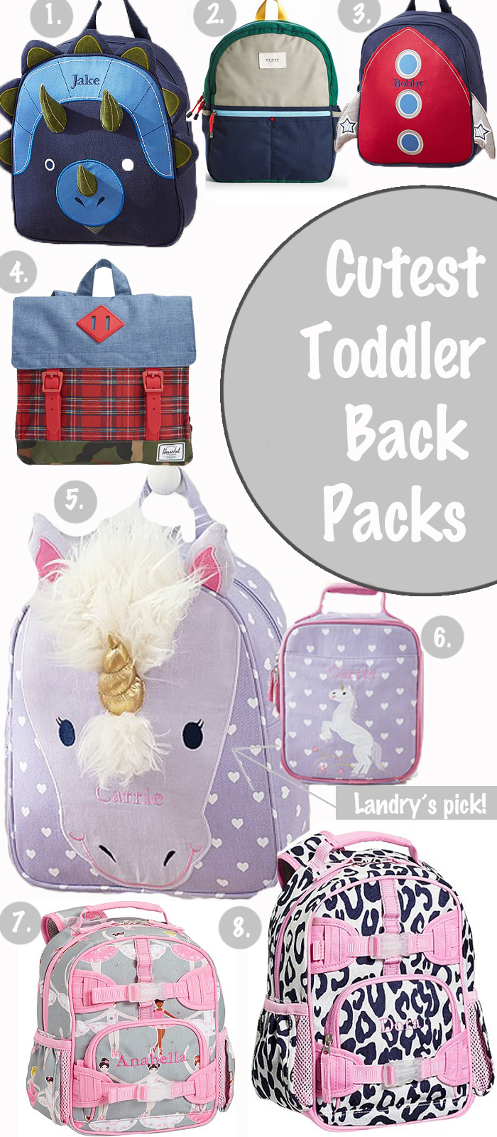 Toddler backpacks, back to school