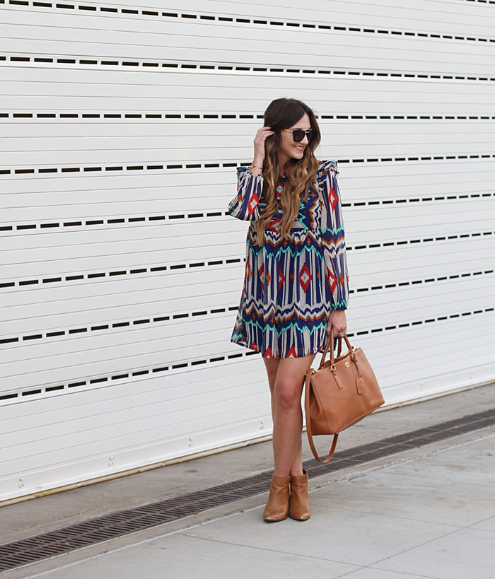 Aztec Dress, Prada PR, Prada Sunglasses, Booties, Tory Burch Robinson