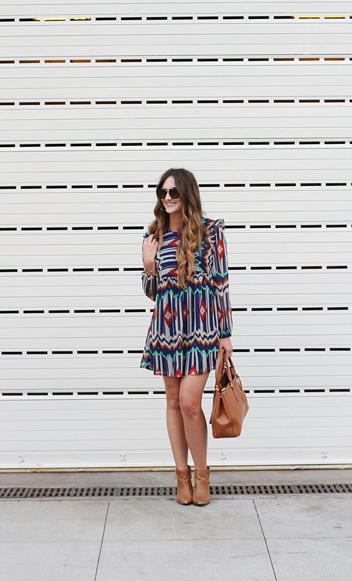 Aztec Dress, Prada PR, Prada Sunglasses, Booties, Tory Burch Robinson