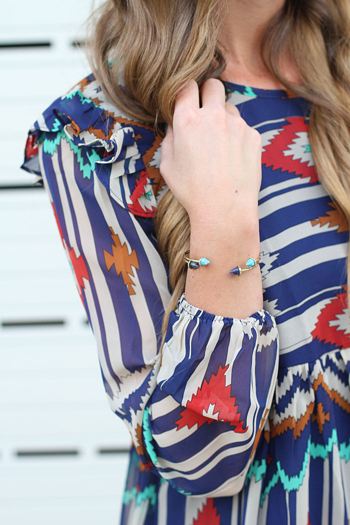 Aztec Dress, Prada PR, Prada Sunglasses, Booties, Tory Burch Robinson, Bangles